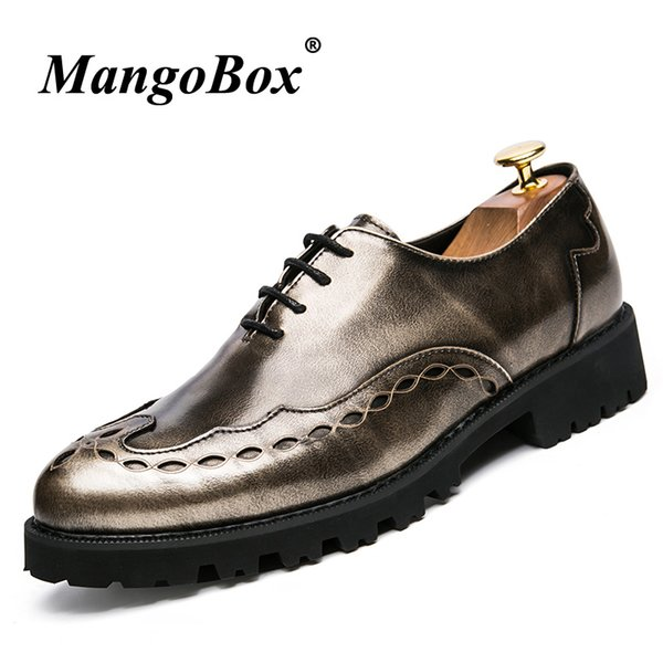 Mens Designer Oxford Shoes Vintage Formal Shoes For Men Thick Soled Fashion Groom Wedding Pointed Brogue Casual Footwear