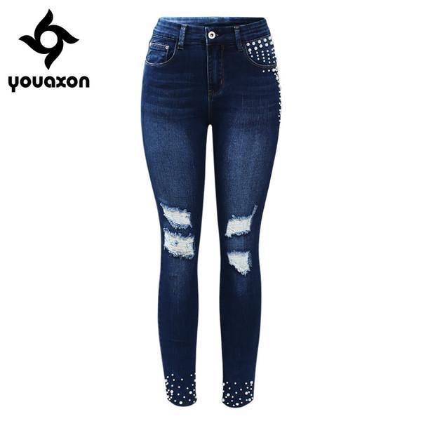 2177 Youaxon Marca Nueva Vintage Pearl Studded Jeans de Las Mujeres Mediados de Cintura Alta Estiramiento Ripped Denim Skinny Pants Jeans Para Mujeres Y190430