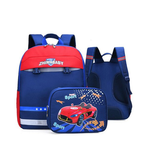 Orthopedic School Bags for Kids Sac à dos amovible Impression Cartoon Car Design Sac à dos Étanche Book Bag pour Étudiants Sac Nouveau