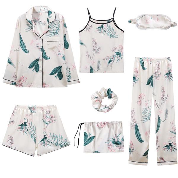 7 pezzi pigiama set 2019 primavera pigiama sexy set per pigiameria vestiti pigiama donne casa tuta pigiama donne pigiameria pigiameria