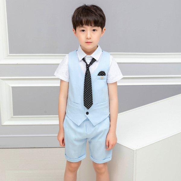 blue vest short 2pcs