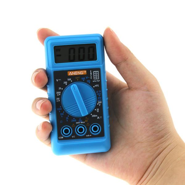 ANENG Mini multimetro digitale con cicalino Protezione da sovraccarico Pocket Volt Ampere Ohm Meter DC AC portatile LCD