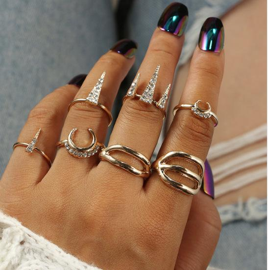 2019 7pcs/Set Bohemian Moon Arrow Crystal Midi Rings Set for Women Punk Gold Alloy Knuckle Rings Jewelry Accessories Punk Rings Sets