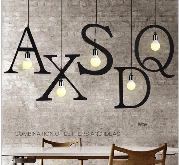 Modern Letters Iron Pendant Light Clothing Store Restaurant Cafe Spelling Sign Letter Droplight Hanging Lights Ceiling Light Fixtures From Wl8888