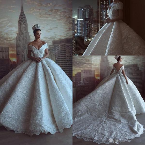 Abiti da sposa di lusso Royal Ball Gown Off spalla completamente in pizzo Appliques paillettes che bordano abiti da sposa lungo cappella treno