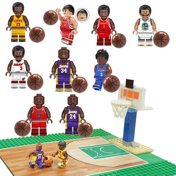 Educational Kobe Bryant LeBron James Stephen Curry Mini Toy Figure Basketball Court Base Plate Building Block Brick Toy for Boy