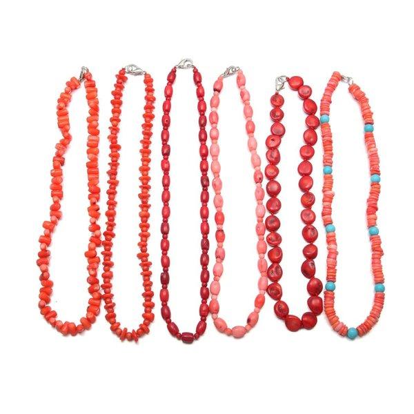 1pcs pietra naturale corallo borda la collana girocollo moda per i fascini dei monili delle donne regalo irregolare in rilievo di corallo della collana di 48 centimetri