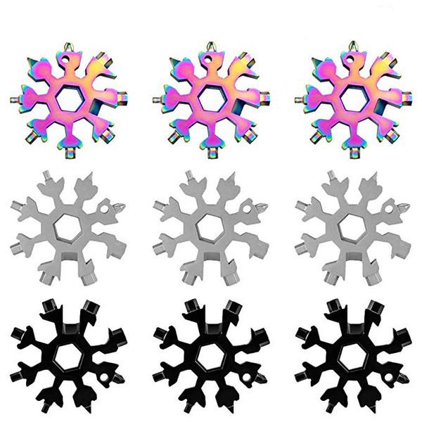 18-in-1 in acciaio inox Fiocchi di neve Multi-Card Tool Snowboarding attrezzo del cacciavite per la catena chiave apri / bottiglia del migliore regalo Opener / Uomo M868F