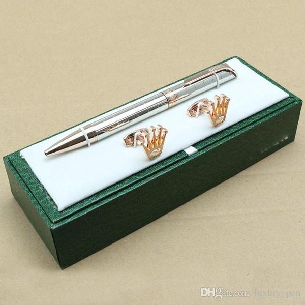 Luxury high quality Rlx box packaging metal ballpoint pen grid stationery school office luxury writing brand ,Men Shirts cufflinks option