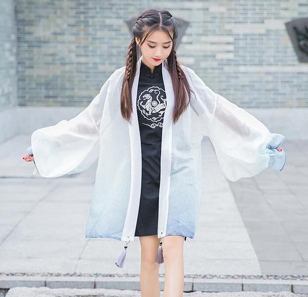 Giacca da donna Kimono Cardigan Outwear Vintage cinese bianco Tigre Harajuku nappa sfumato colore cappotto Trench 2 colori