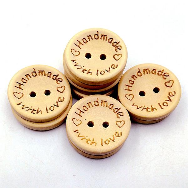 1000 PCS / lot boutons de couleur naturelle en bois à la main amour lettre bouton en bois artisanat bricolage bébé vêtements accessoires 15mm / 20mm / 25mm
