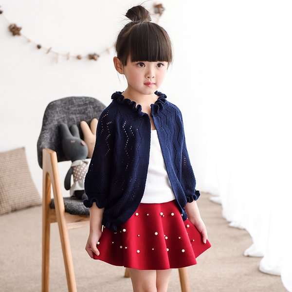 famli girls cardigan kids solid jacket for girls jacket children longsleeve cardigan spring summer lace child clothes