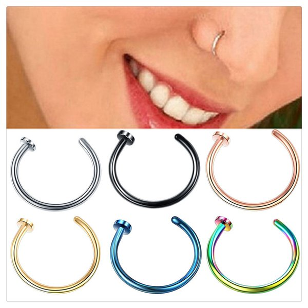 Fashion Body Art Nose Ring Piercing Body Jewelry Medical Titanium Silver Gold Body Clip Hoop For Women Girls Septum Clip Hoop Studs Jewelry