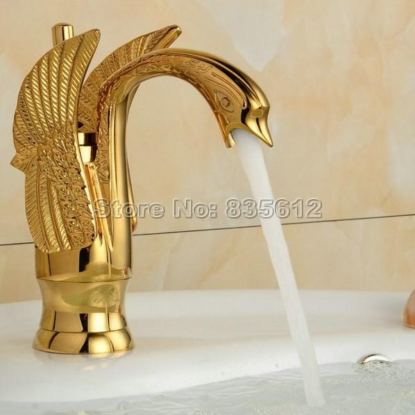 Luxury Gold Color Brass Finish Bathroom Basin Faucet Vessel Sink Mixer Single Lever Taps Wgf009-1