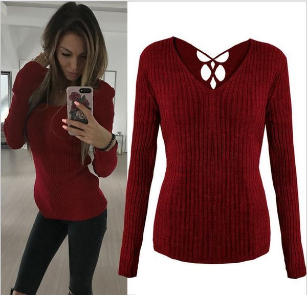 Women T-shirt V Neck Knitted Long Sleeve Ladies Loose Slim Casual Chunky Jumper Tops Pullovers Autumn Women Clothes