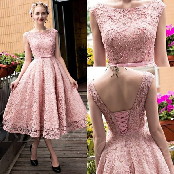 2019 New Blush Pink Elegant Tea Length Full Lace Prom Dresses Bateau Neck Cap Sleeves Corset Back Pearls A-line Party Gowns with Bow