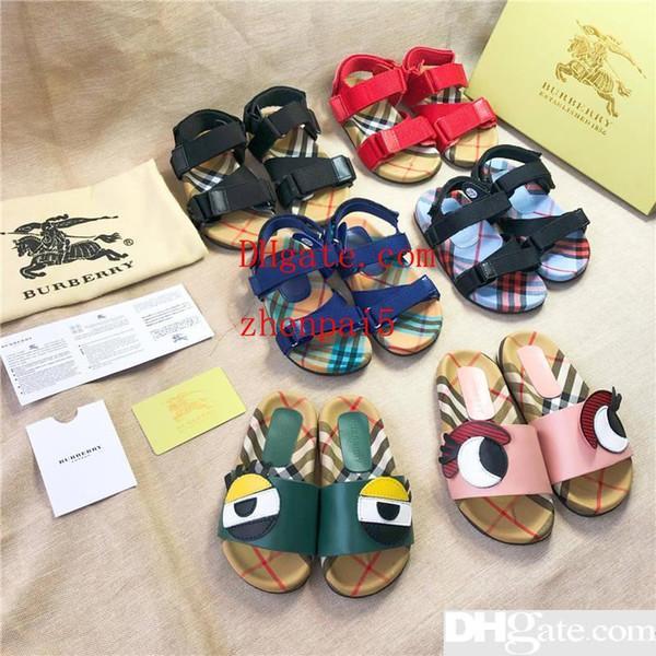Desinger Enfants Chaussures Filles Garçons Unisexe D'été Sandales Pantoufles De Mode Lovely Eye Sandal Toddler Chaussures Noir Bleu Chaussures