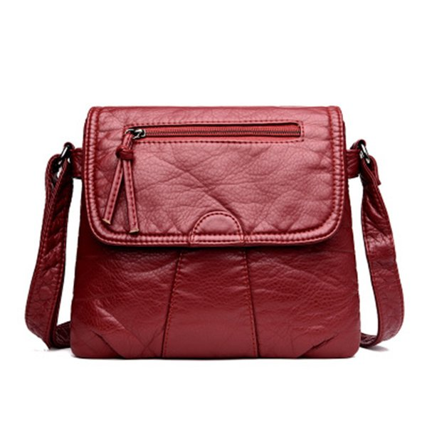 Cmetni Black Small Women Messenger Bag Soft Washed Pu Leather Crossbody Bag Female Handbag Purses SH190710