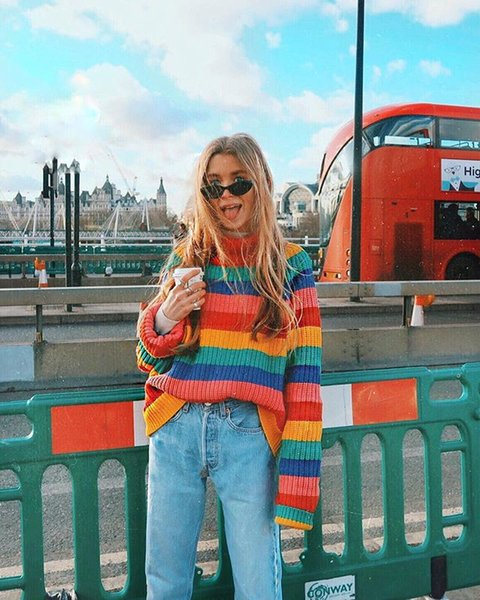 Women's Sweater 2019 New Arrival Womens Shirt Color Stripes Fashion European and American Style Loose Sweater Coat Plus Size