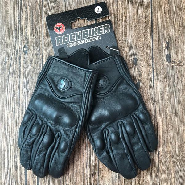 ROCK BIKER Racing Motorcycle Glove Black Genuine Leather Motorbike Gants Moto GP Off Road Racing Gloves Men Motocross luva