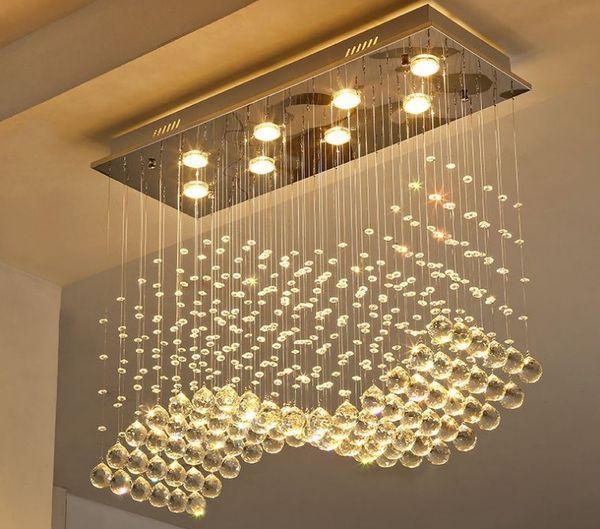 K9 Lustres de Cristal LED Acabamento Cromado Onda de Luz Arte Decoração Moderna Suspensão Iluminação Hotel Villa Lâmpada Pendurada LLFA
