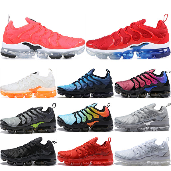 TN Plus Men Running Shoes Triple Black White Red Sunset Photo Blue Wolf Grey USA Game Royal Designer Shoes Sport Sneakers Trainers 36-45