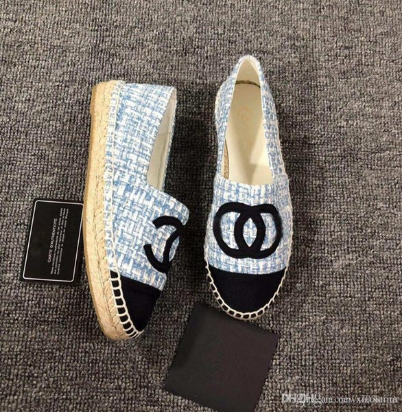 NIBChane1 Quilted Espadrilles BLUE White TWEED SPARKLE SILVER LOGO Canvas Espadrilles Flats Cap Toe Espadrilles Flat Shoes with Original Box