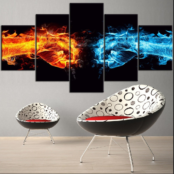 Fire and Snow Hands,5 Pieces Canvas Prints Wall Art Oil Painting Home Decor (Unframed/Framed)
