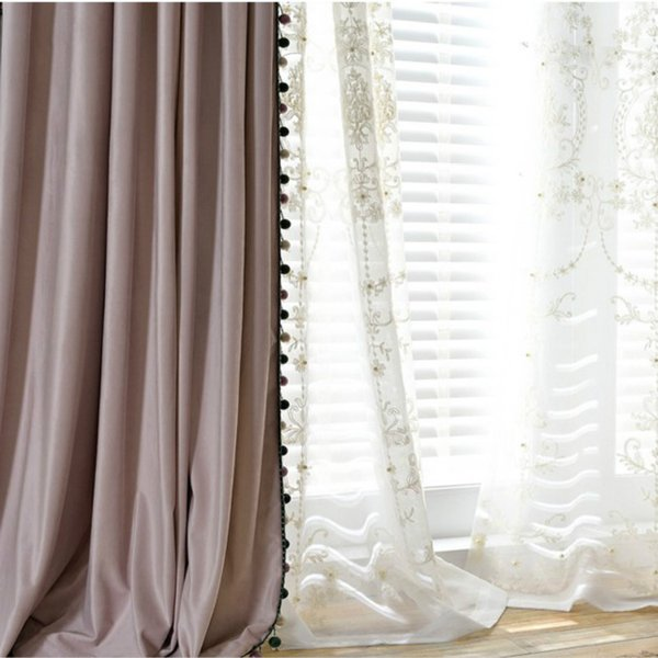 Modern Solid Color Blackout Curtain Light Pink Velvet Curtain with Beads Decor for Living Room Bedroom Embroidered Tulle