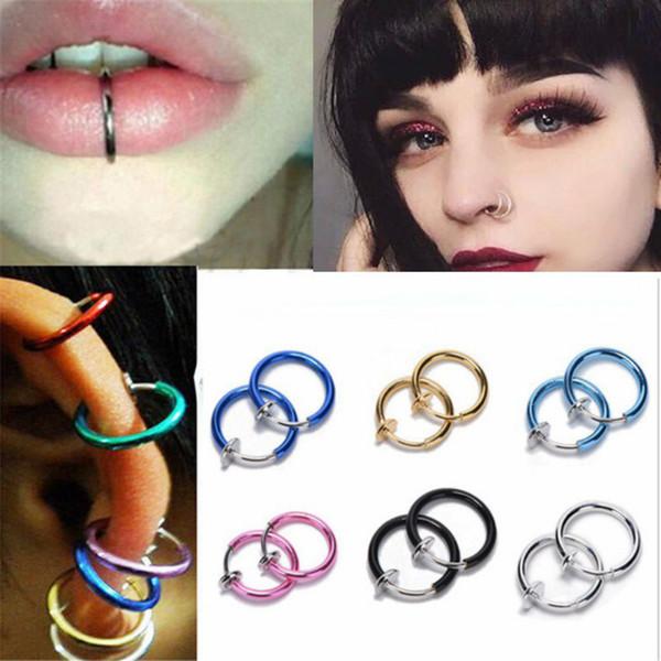 2018.NEW 2 Piece Fake Nose Ring Goth Punk Lip Ear Nose Clip On Fake Septum Piercing Nose Ring Hoop Lip Hoop Rings Earrings