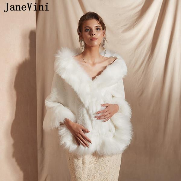 JaneVini 2019 Элегантный белый теплый свадебный шаль из искусственного меха для женщин Болеро Wrap Зимний мягкий свадебный плащ Мыс для вечеринки Chaquetas De Novia