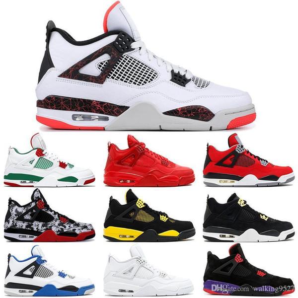 4 4 s Erkek Basketbol Ayakkabı Soluk Citron Beyaz Çimento Siyah Pizzeria Toro Bravo Raptors Iv Saf Para Royalty Üniversitesi Kırmızı Sneakers 41-47