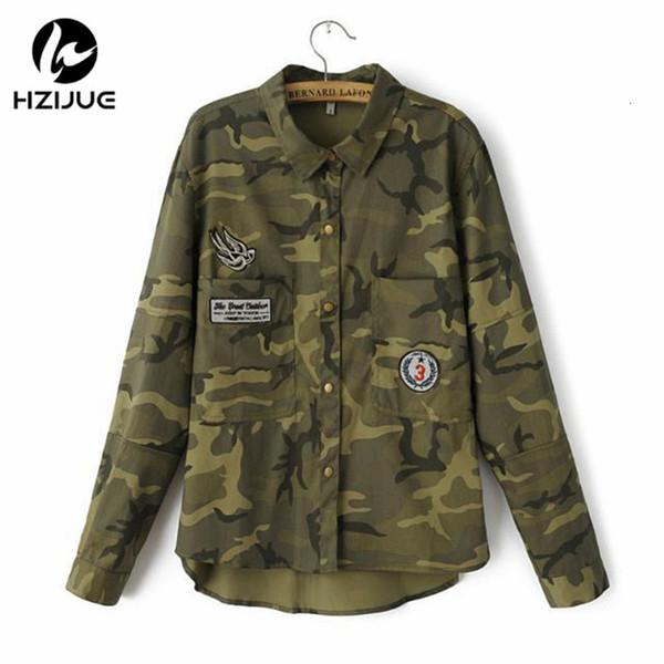 HZIJUE 2018 Fashion Langarm chaqueta militar Mantel-Frauen-Grün Militärjacken dünne gestickten Frauen Jacke Blusen Mäntel Y190919