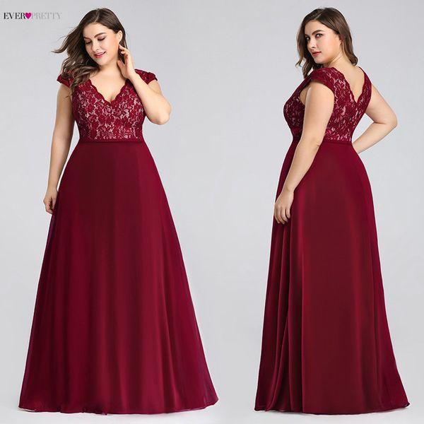 Plus Size Prom Dresses Long 2019 Ever Pretty Ep07344 Elegant Burgundy A-line Sleeveless Lace Appliques V-neck Vestidos De Gala Y19072901