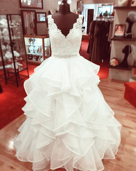 Elegante vestido de baile vestidos de casamento v neck sheer straps 2019 para as mulheres noiva plus size babados fita de cristal vestidos de noiva barato noiva