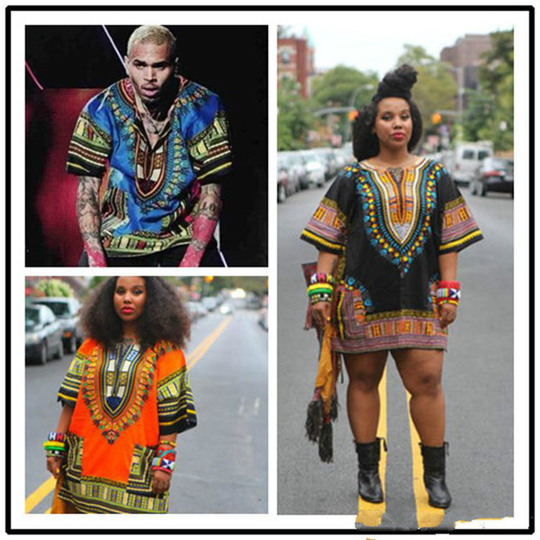 top popular 2019 African Dashiki Dresses For Women Men African Clothes Hippie Shirt Caftan Vintage Unisex Tribal Mexican Top Bazin Riche Ethnic Clothing 2019
