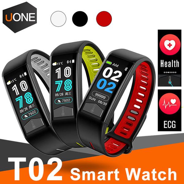 T02 Fitness Bracelet Intelligent IP68 Étanche Bracelet avec Fréquence Cardiaque pour apple watch ECG Moniteur Smart Band Météo Affichage La Température Du Corps