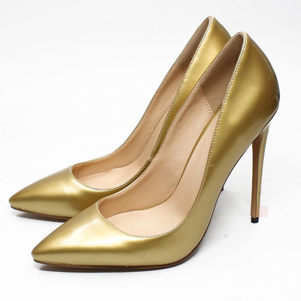 New Arrival Gold Designer High Heels Women Pumps Silver Plus Size Lady Dress Shoes Pointed Toe 12 CM Bridal Wedding Shoes