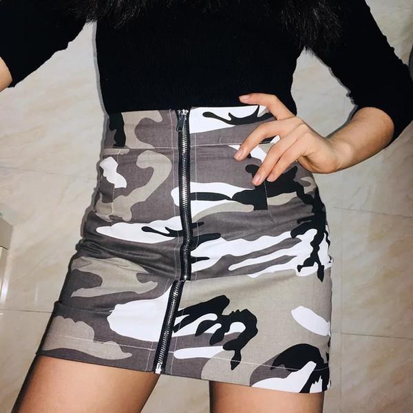 Jupes pour femme 2019 Mode estivale Jupe imprimée camouflage Sexy Style discothèque Minijupe moulante Slim Robe courte
