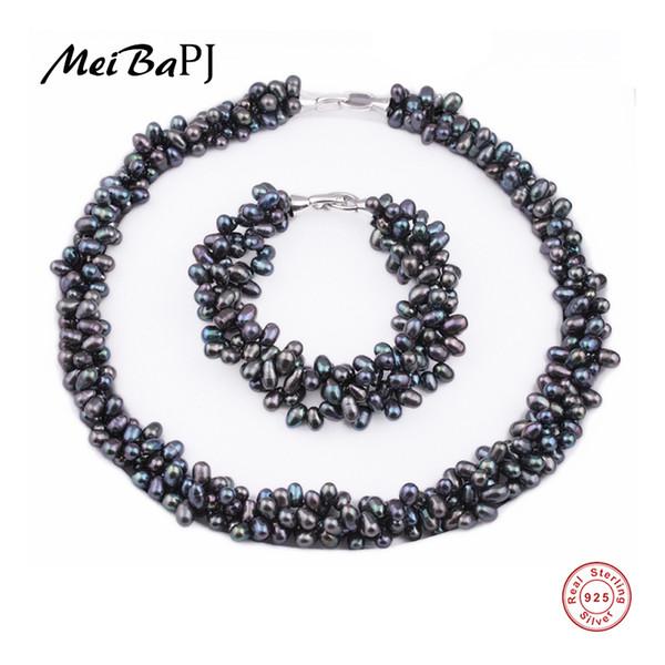 [meibapj] 925 de plata 100% blanco natural de agua dulce sistemas de la joyería de la perla collar de perlas reales juegos de la joyería de la pulsera para las mujeres J190721