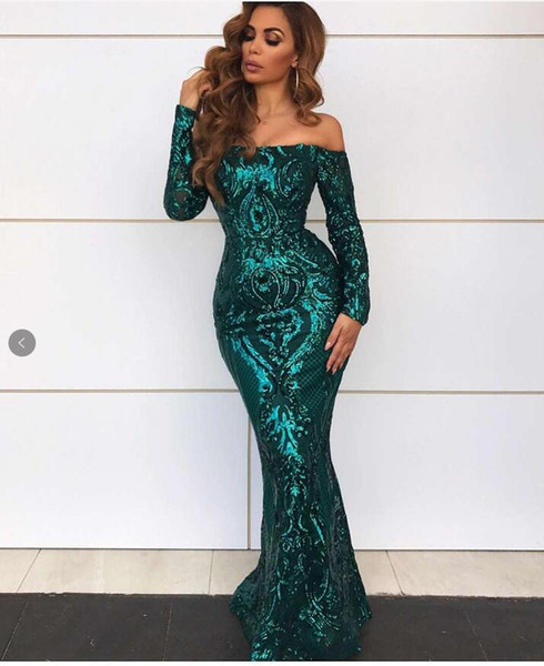 Emerald Green Sparkly Mermaid Evening Dresses with Long Sleeve 2019 Sexy in Stock Rose Gold Lace Sequins Prom Party Cocktail Dress