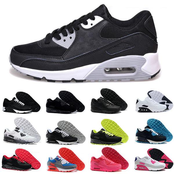 Acheter Nike Air Max 90 Airmax Hommes Baskets Chaussures Classic 90 Hommes Et Les Femmes Des Chaussures De Course De Sport Trainer Coussin 90 Surface