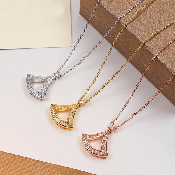 Water-drop Pendant with full CZ diamond Rose Gold Silver Color Necklace for Women Vintage Collar Costume Jewelry with original box set