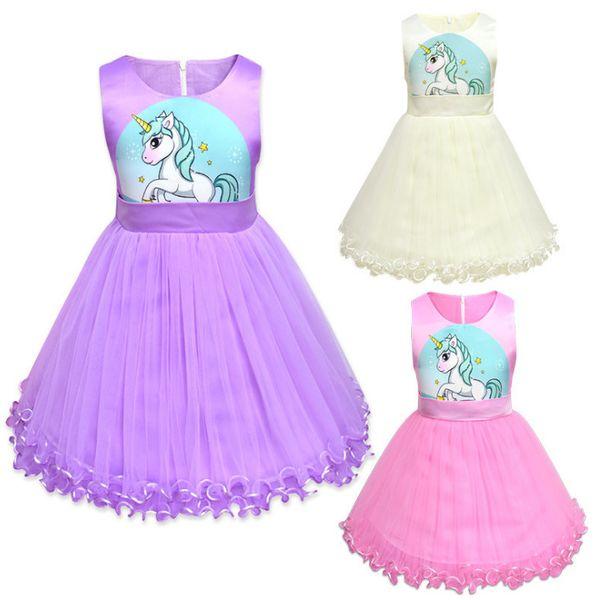 Kids lace tulle tutu dress girls unicorn printed sleeveless princess dress 2019 summer new children ribbon Bows belt party dresses F3098