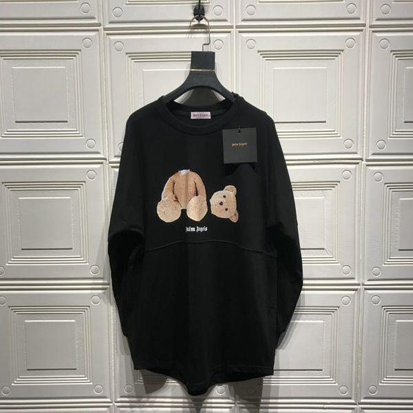 Palm Angels Broken Bear Male and Female Loose Double Yarn Long Sleeve T-Shirt Cotton Sweatshirt s-xl