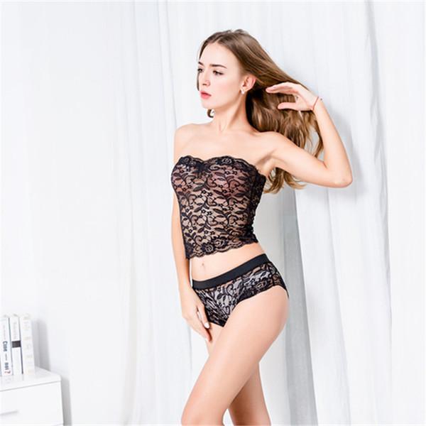 Conjunto de sujetador de encaje Bralette sin forro Bikini Disfraces sexy Traje de sujetador inalámbrico Moda Ropa interior íntima Mujeres Lencería erótica