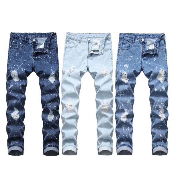 Herren Straight Leg Slim Ripped Jeans Europäische Größe Herren Jeans White Point Destroyed Jean Größe 32 34 36 38 40 Distressed Jean Grunge