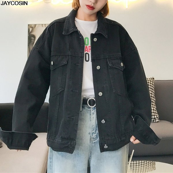 JAYCOSIN Jeans Jacket Women Oversized Long Sleeve Denim Jackets Casual Single Breasted Pockets Coat Female Blue Jacket HOT 9801