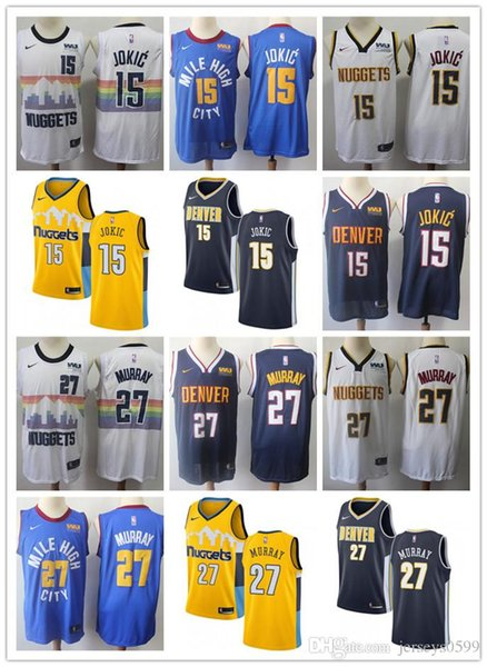 size 40 738e4 8d07d 2019 2019 NCAA Mens Womens Youth Denver Nikola 15 Jokic 27 Jamal Murray  Custom Nuggets Blue Yellow White Navy Basketball Jerseys From Fxt55555,  $22.34 ...
