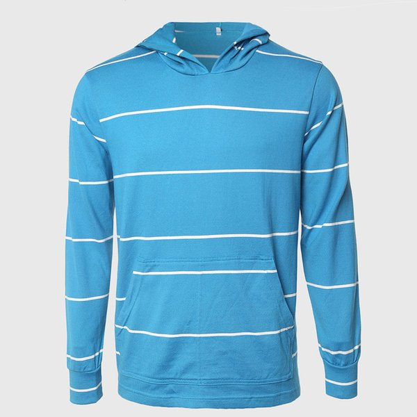 Men Designer Hooded Hoodies Blue White Striped Hoodies Long Sleeve Contrast Ringer And Retro Stripe Block Pattern Sailor
